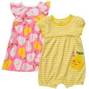 Baby Girl 2-pk Dress & Romper Set Fruits Summer